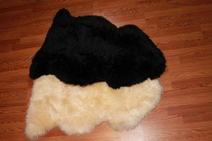 Black and Champaign LONG wool sheepskins
