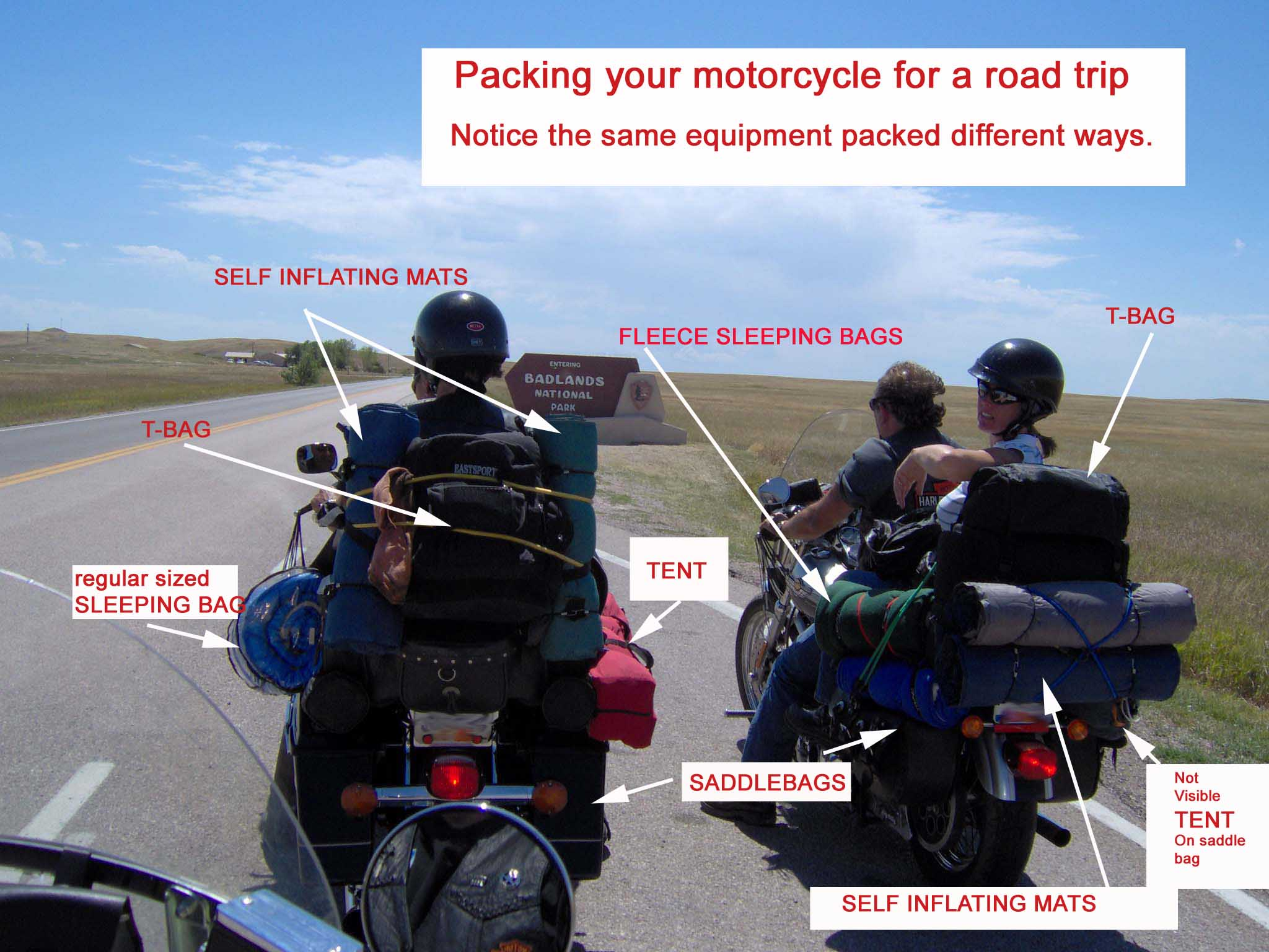 motorcycles packed for road trip